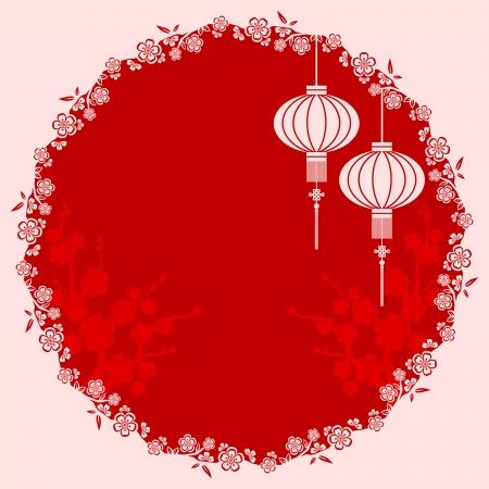 faroles: Oriental Linterna china de cerezo en flor de fondo Vectores