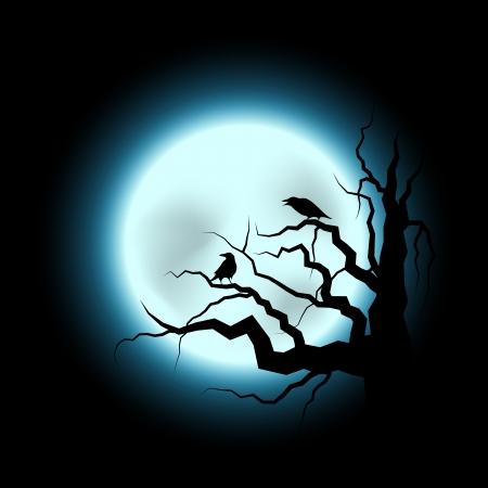 frighten: Abstract Halloween Illustration with Raven and Full Moon