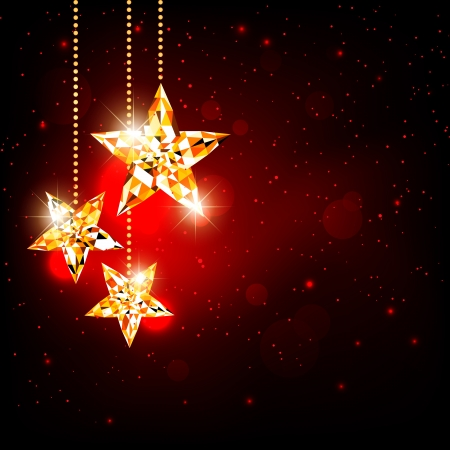 Sparkling  Christmas Polygon Star on Red Background Vector