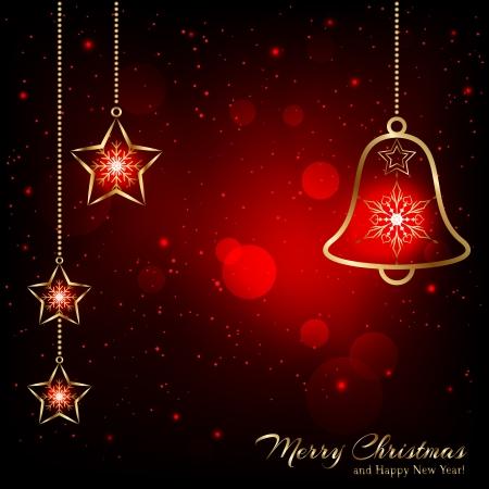 campanas de navidad: Sparkling Oro rojo de Navidad copos de nieve de Bell de tarjetas de felicitaci?n Vectores