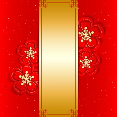 flores chinas: Tarjeta de felicitaci�n del A�o Nuevo Chino con la flor de cerezo