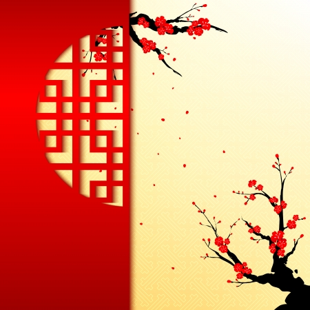 cerisier fleur: Carte chinoise de voeux du Nouvel An Cherry Blossom Illustration