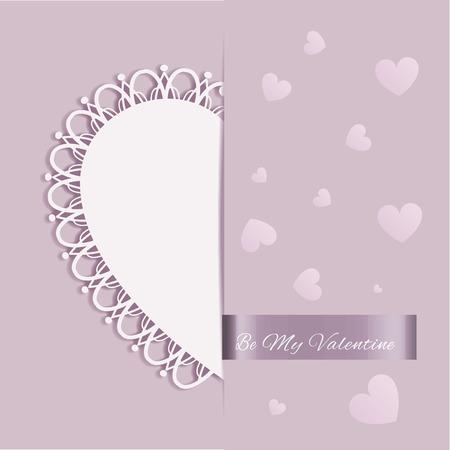 st valentine: St Valentine Day en forma de coraz�n Tarjeta de felicitaci�n en el fondo color p�rpura