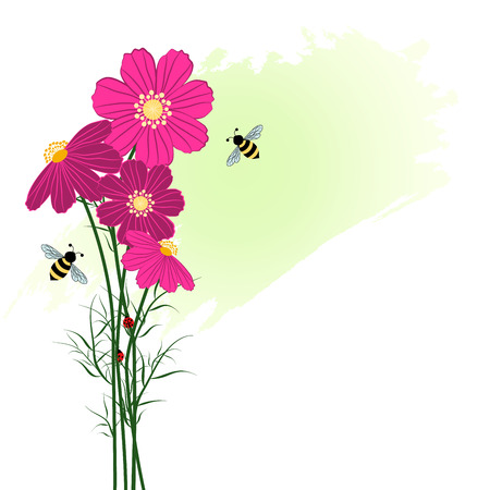 springtime: Springtime Colorful Flower with Bee Background