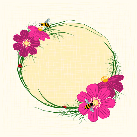 cosmos flower: Springtime Cosmos Flower with Bees Background Illustration