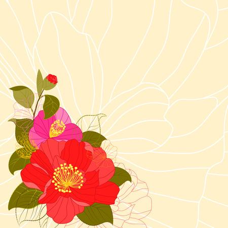 camellia: Springtime Colorful Flower Greeting Card Background