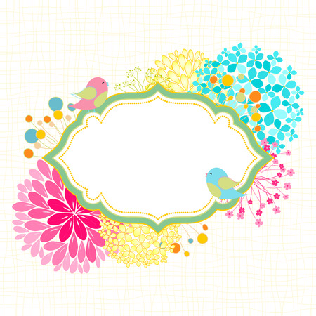 tea party: Spring Summer Colorful Flower Bird Garden Party Invitation