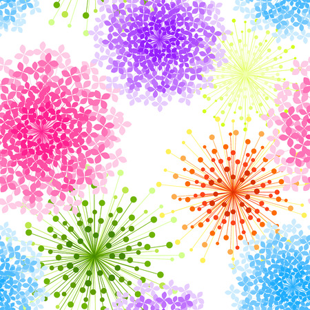 Colorful Hydrangea Flower Seamless Background Wallpaper Vector