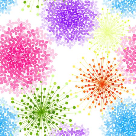 pretty: Colorful Hydrangea Flower Seamless Background Wallpaper