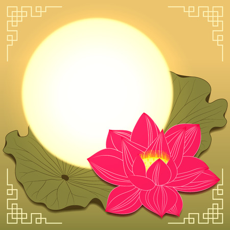 Mid Autumn Festival Lotus Flower and Moon Vector