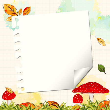 notepaper: Colorful Autumn Background with Notepaper