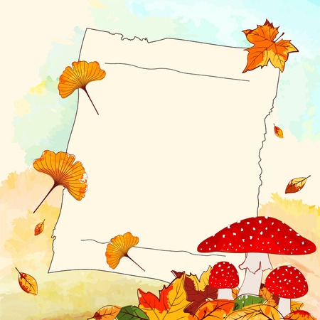 hintergrund herbst: Bunte Herbst Hintergrund mit Blatt und Briefpapier