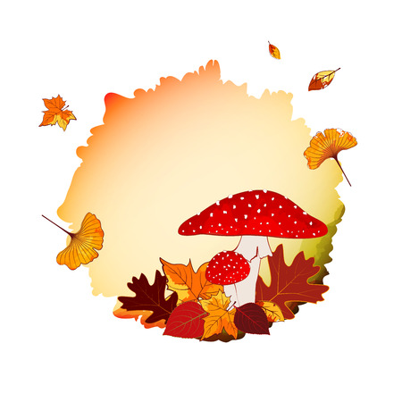 Colorful Autumn Background with Leaf and Mushroom Vector