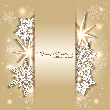 background motif: Sparkling Golden Christmas Background with Snowflake