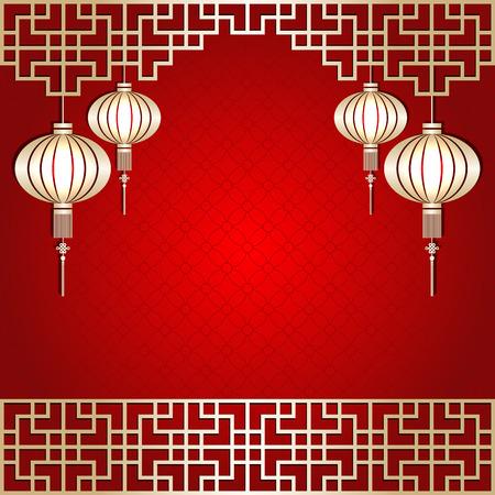 Golden Color Chinees Nieuwjaar Lantern Achtergrond Stock Illustratie