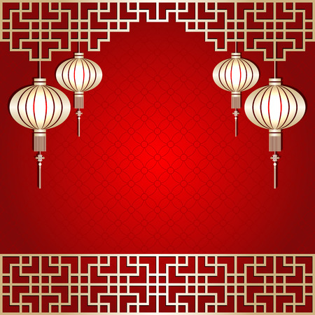 Golden Color Chinese New Year Lantern Background Ilustracja