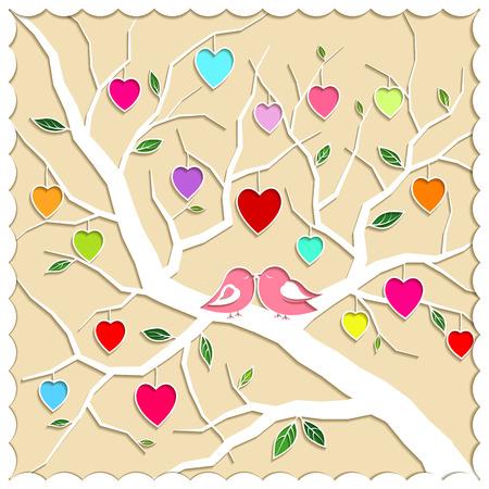 springtime: Springtime Love Tree and Birds Illustration Illustration