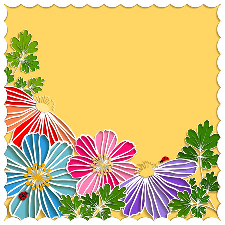 springtime: Springtime Colorful Paper Cut Flower on Yellow Background
