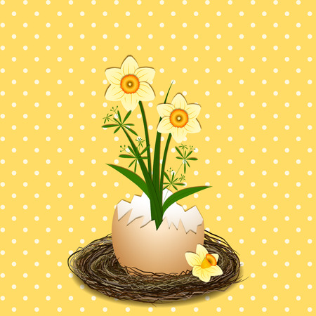 wild grass: Easter Holiday Illustration Yellow Daffodil Flower on Polka Dot Background Illustration