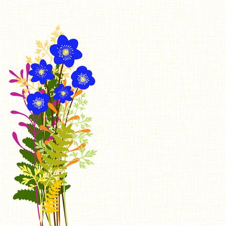 hepatica nobilis: Springtime Blue Hepatica Nobilis with Colorful Wild Grass Background