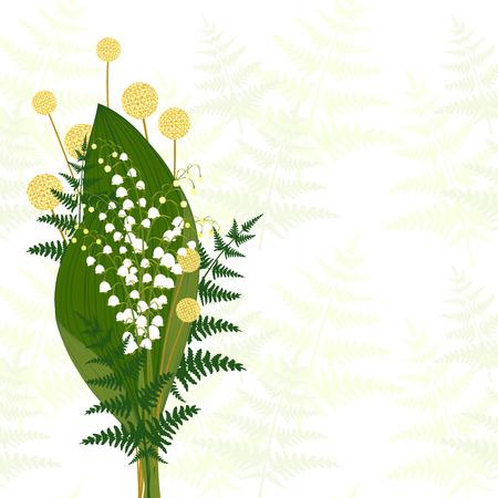 white lily: Springtime White Lily of The Valley, Fern Leaf, Craspedia
