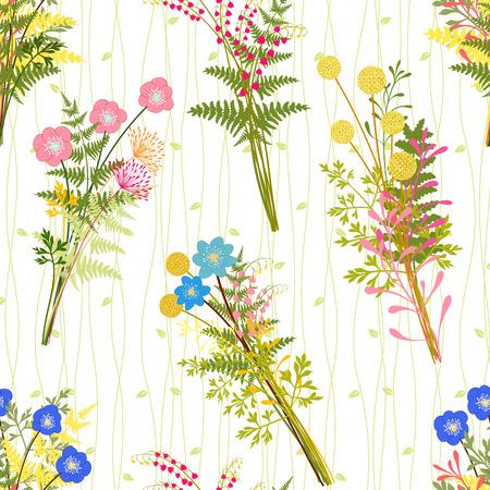 野草: 春野草パターン背景とカラフルな花