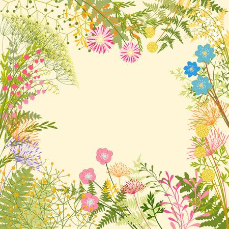 春のカラフルな花ハーブ ガーデン パーティーの背景