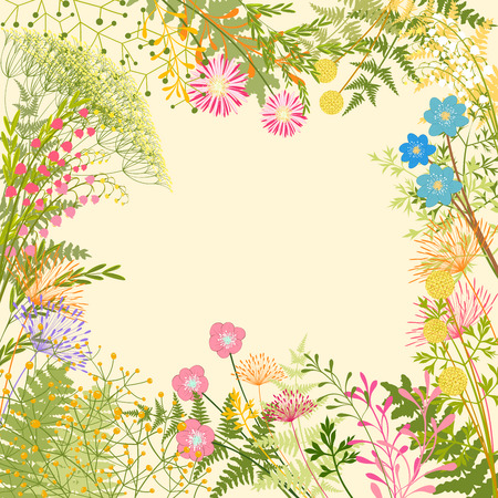 Lente kleurrijke bloem Herb Garden Party Achtergrond Stock Illustratie