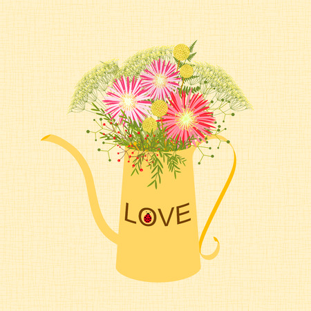 springtime: Springtime Colorful Flower in Watering Can Garden Party Background Illustration