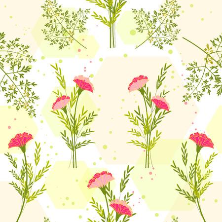 springtime: Springtime Colorful Flower with Herb Background Pattern Illustration