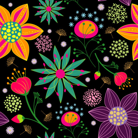 Spring Summer Colorful Flower Seamless Pattern Background