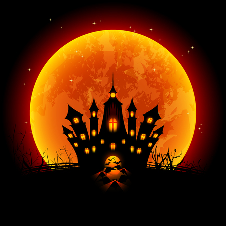 moon light: Halloween Illustration Blood Moon and Haunted Castle