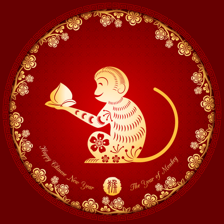 blossoms: Chinese New Year Golden Monkey Background