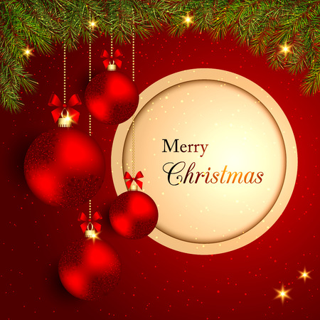 crystal background: Sparkling Christmas Crystal Ball on Red Background