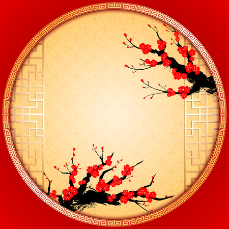 cherry blossom illustration: Chinese New Year Greeting Card with Cherry Blossom