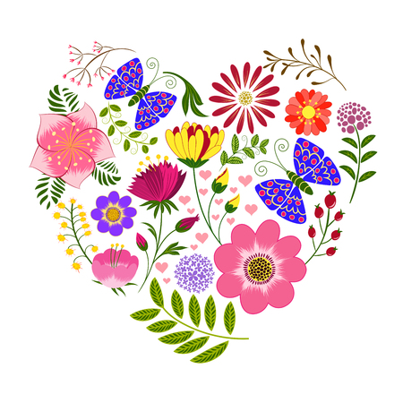 flower heart: Springtime Colorful Flower and Butterfly Background Illustration