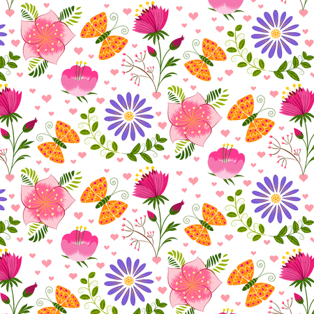 springtime: Springtime Colorful Flower and Butterfly Seamless Pattern Background