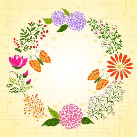 springtime: Springtime Colorful Flower and Butterfly Background Illustration