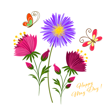May Day Colorful Flower and Butterfly Background