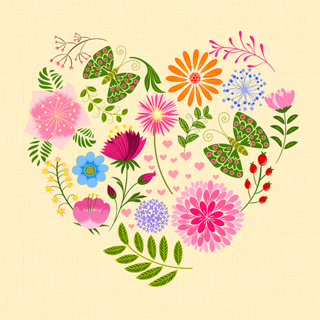 Springtime Colorful Flower and Butterfly in Heart Shape Illustration