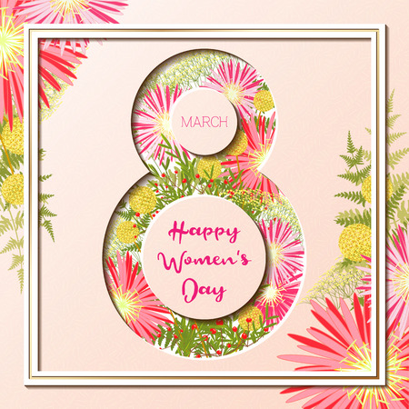 8 March Happy Womens Day Colorful Floral Greeting card