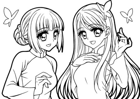 Coloring book for girls illustration