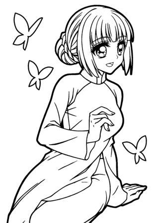 Coloring book illustration of girl wearing ao dai