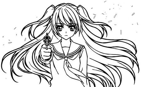 Illustration for coloring book of a high school girl with a gun