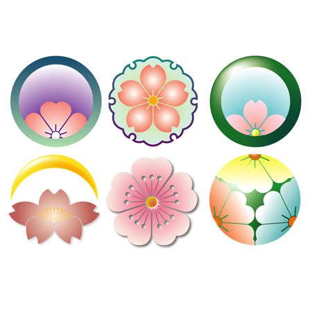 Family crest of Japanese tradition sakura Illustration