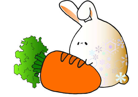 snow rabbit with carrot Illustration