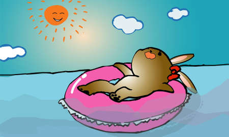 The rabbit which gets tanned  Illustration
