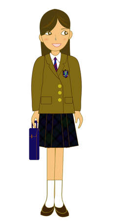 A Japanese schoolgirl  Illustration