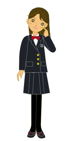 The Japanese female student of winter clothes