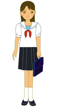 The lovely Japanese schoolgirl of summer clothes  Vector